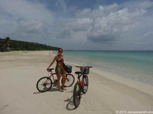 Caroline with the beautiful background of South West Bay Beach, south east of Big Corn Island