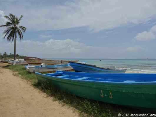 Fishermen boat overlooking Playa Coco, west side of Big Corn Island