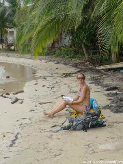 Caroline on the Boca del Drago beach (north side of the island)