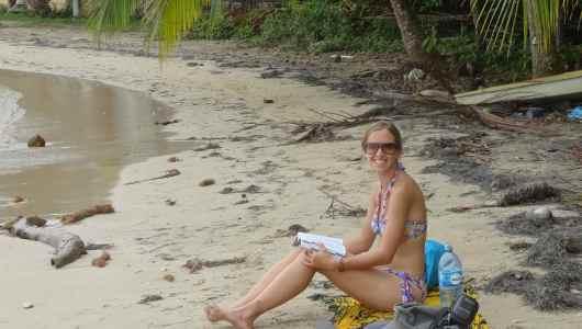 Caroline on the Boca del Drago beach (north side of the island)
