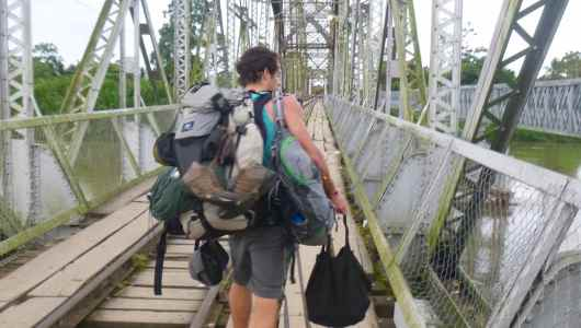 Jacques crossing the border between Panama and Costa Rica