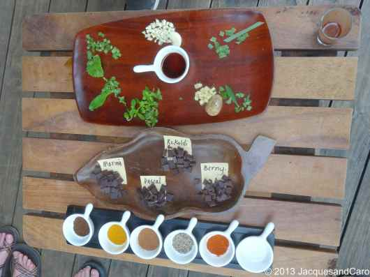 Here the best part of the Chocolate tour: make your own combination of chocolate with herbs and spices.