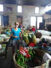 Massive papaya in Granada market with Caroline