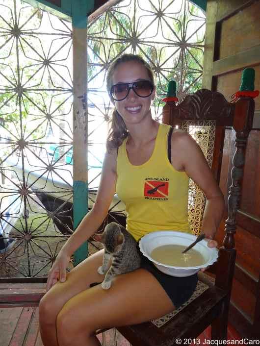 Caroline, the cat and her porridge