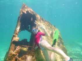 Caroline on the boat wreck