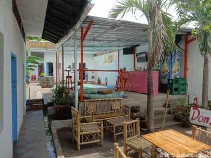 Inside Backyard backpacker, the bar and behind the pool
