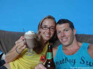 Caro and Jacques enjoying a hot chocolate & beer break