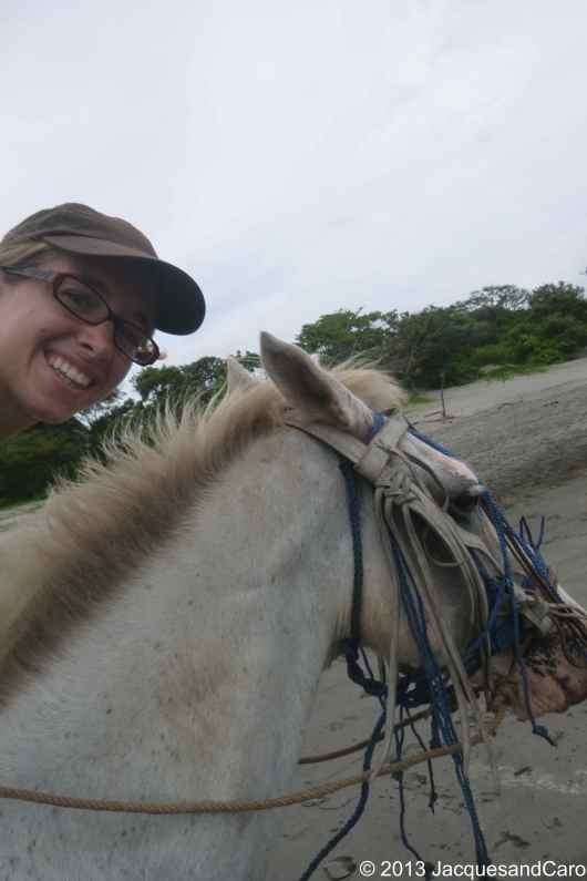 Caroline, happy, on her horse