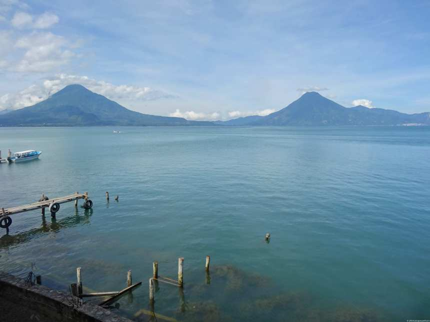Next morning, much better weather. We can see San Pedro volcano on the right and Volcano Atitlan on the left.
