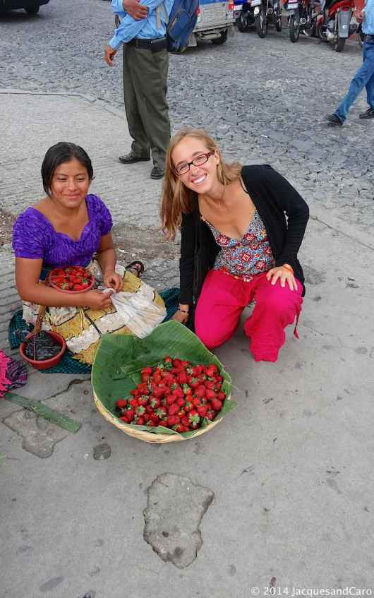 Fresh and really tasty strawberry for sale in the street of Antigua..