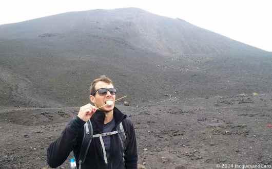 Marshmallow tasting on Pacaya Volcano.