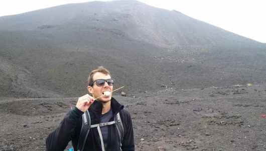 Marshmallow tasting on Pacaya Volcano.