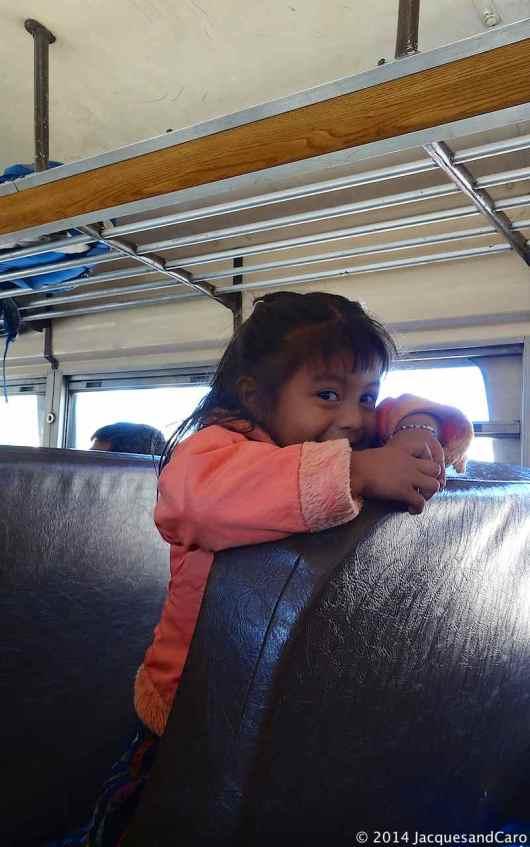 Young girl in the bus between Antigua and Atitlan Lake