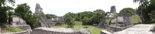 Overview from the North Acropolis. On the left the Jaguar temple, the middle the main plaza, on the right the Temple III